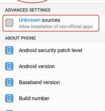 Enable Unknown apps on Android Nougat and lower