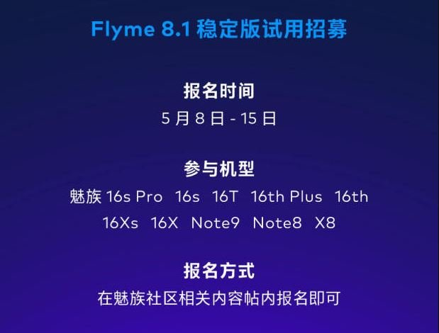 List of eligible devices for Flyme 8.1 update